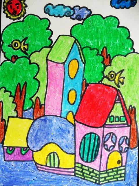 和漂亮的色彩把小学生升国旗的情形画得非常生动!   这是一张蜡笔画