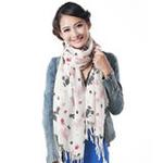 柏汇优品精纺柔细纯羊毛长围巾披肩MX2807可爱米奇米紫色