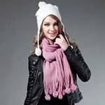 柏汇优品超柔暖绒彩球流苏长围巾BHYP1708橡皮粉色