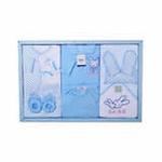 GUGA咕嘎纯棉保暖6件套秋冬宝宝婴儿高档礼盒199蓝色
