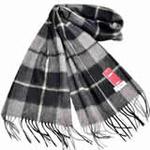 恒源羊绒羊毛加厚保暖男士长围巾礼盒装SFBX180-89黑灰色