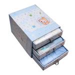香港亿婴儿豪华版三层抽屉型宝宝服饰礼盒大礼包2158蓝
