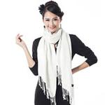 柏汇优品棉毛单色加厚长围巾披肩BH3202圆圈乳白色