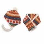 kocotree彩色印花帽子+围巾橙色
