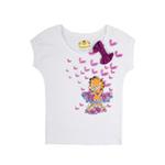 加菲猫女童针织挽袖T恤GTWE055401亮丽白105