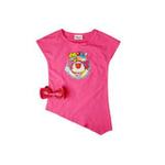 童壹库摩尔系列女童倾斜下摆针织T恤MTWF025202玫红110