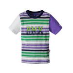 派克兰帝男童小轮车圆领彩条短袖T恤LTWE045301葡萄紫130