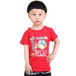 雪精灵男童短袖T恤X1-72009大红色/110