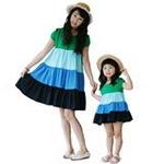 雪精灵亲子装连衣裙X2-1219蓝绿色/妈妈款S