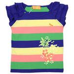 红蜻蜓摩登田园系列短袖T恤52720421彩色条纹/150