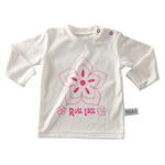 琪凯宝宝精梳全棉系列女婴圆领长袖T恤115051米白印花66cm