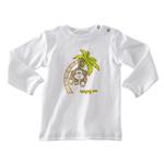 琪凯宝宝婴儿长袖套头T恤115012白底胸印猴子59cm