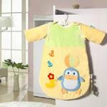 睡王小企鹅顶球球宝宝天鹅绒长袖婴幼儿睡袋(黄色)