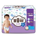 宝松怡BOSOMI婴儿裤型纸尿裤 超薄柔软大号L34片 男孩(10-14KG)韩国原装进口