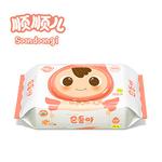 顺顺儿进口新生儿婴儿手口专用湿巾宝宝湿纸巾橘粉色100抽盖装